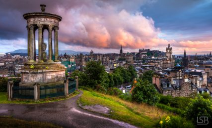Calton Hill, Edinburgh at sunset.
